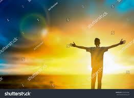 silhouette thought positive rise stock photo 563425426