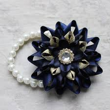 wrist corsages for homecoming wrist corsage navy blue corsage navy blue and gold prom corsage