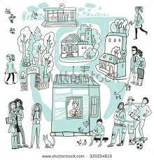 sketch city houses shops park bank stock vector 295754852