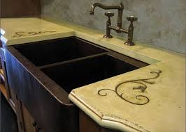 Concrete Kitchen Sink by Rustic Concrete Countertop With A Copper Farm Sink And Iron Inlay