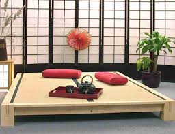 Japanese Small Living Room Design Interior Design Alluring Wooden Tea Tray With Two Red Cushions On