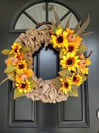 burlap sunflower wreath 26 fall wreath ideas for your front door décor shelterness