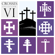 different types of purple set of different types of crosses on purple background stock vector
