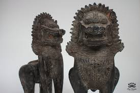 lion dog statue pair of solid bronze khmer foo dog or singha statues siam