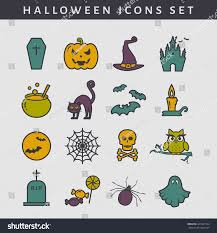halloween background colors set colored halloween icons outline collection stock vector