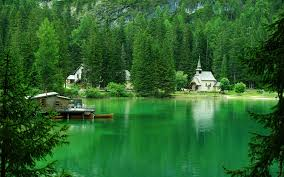 nature landscape mountain trees forest house lake italy