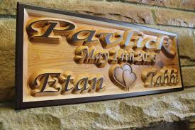 personalized wedding plaque custom carved wedding anniversary sign personalized cedar couples