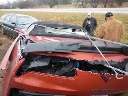 accident 2015 corvette z06 convertible wrecks in the rain in