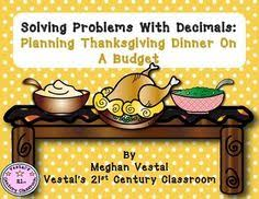 problem solving with decimals thanksgiving dinner student work