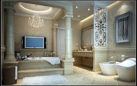 luxurious bathroom fully furnished and decorated 3d model max
