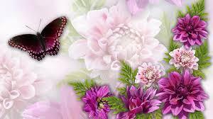Summer Garden Quotes - flower flowers dreamy bright pink dahlias astors butterfly garden