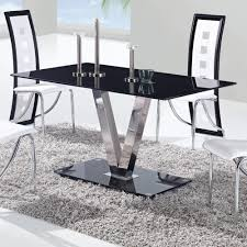 Stainless Steel Dining Room Tables by Global D551dt Black Glass Dining Table W Stainless Steel Legs