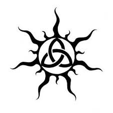 tribal sun and celtic triquetra tattoo design tattoowoo com