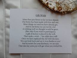 wedding gift list poem for honeymoon lading for