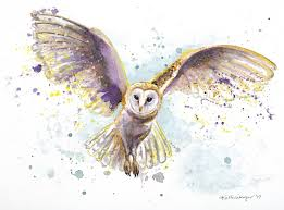 owl item flying owl watercolor print splatter painting unique gift
