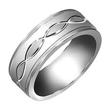 mens white gold wedding band 14k white gold infinity pattern men s comfort fit