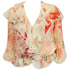 print blouses valentino ivory silk chiffon floral print blouse with tiered