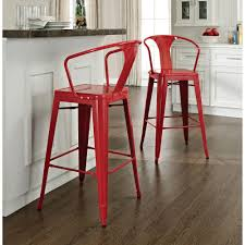 vintage red polished metal bar stools with hoop back of fancy