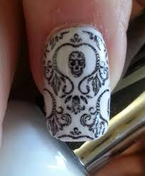 skull nail art damask nails skd day of the dead full long