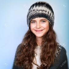 cute teenagers portrait of cute teen girl wearing stylish knitted hat and sweater