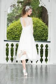 fashion a line short tea length chiffon lace wedding dress with