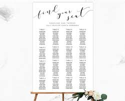 black wedding seating chart editable and printable