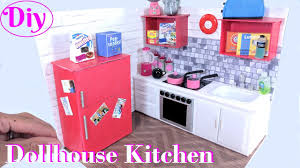 diy miniature dollhouse kitchen with fridge oven more youtube diy miniature dollhouse kitchen with fridge oven more