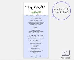 editable menu template greenery wedding menu template