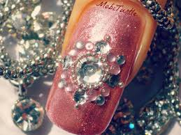 3d pink glitter rhinestones beads easy nail art for beginners no