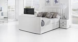 Luxury Super King Size Bed White Leather Tv Bed Leather Kingsize Tv Beds The Azure