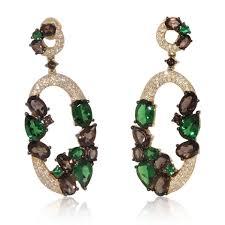 smoky quartz earrings dangling oval tzavorite and smoky quartz earrings new wave jewellery