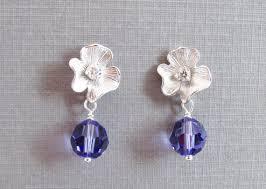 rhodium earrings sensitive ears lavender flower earrings cubic zirconia flower rhodium plated