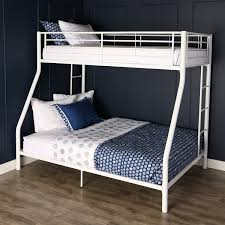 Bunk Bed For 3 Amazon Com Walker Edison Twin Over Full Metal Bunk Bed White