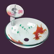 Waterfall Faucet Glass Vessel Sink Koi Fish Waterfall Faucet Combo