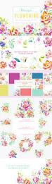 the design kit flowering illustrations creative market