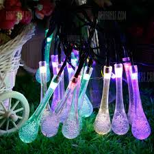 gmy solar raindrop string lights 30 led indoor outdoor water drop lights for garden party fence