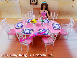 barbie dining room blue white dining table set dollhouse dining room furniture