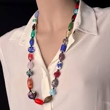 vintage beads necklace images Vintage glass multicolor beads necklace jpg
