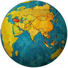 Turkey On World Map by Turkey On Globe Map U2014 Stock Photo Michal812 25717743