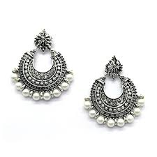 chandbali earrings ikraft oxidized chandbali earrings with white german silver