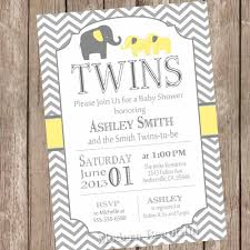 twins elephant baby shower invitation gender neutral