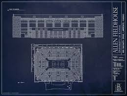allen fieldhouse kansas basketball fan gifts ballpark blueprints