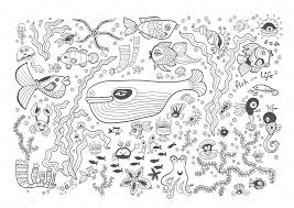 marine vector card isolated on white background coloring book