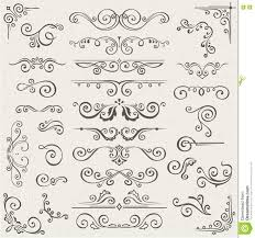 vector set of swirl elements for design calligraphic page