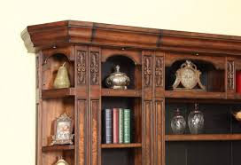 Dark Bookcase Leonardo 8 Piece Entertainment Bookcase Library Wall In Antique