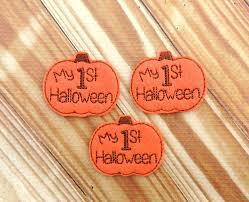 first halloween pumpkin feltie pumpkin bow center embroidered