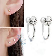 earrings clip on 4mm 6 colors women clip on earrings rhine ear cuff jewelry