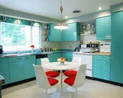 modern retro kitchen glass dining room table pale pink walls cool
