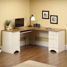 White Office Cabinet Corner Computer Desk In Antiqued White 403793