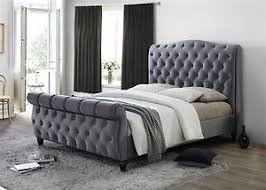 Grey Sleigh Bed Colorado Chesterfield Sleigh Grey Fabric 6ft 180cm King Size